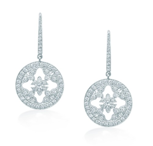 Mappin & Webb Empress White gold and diamond drop earrings