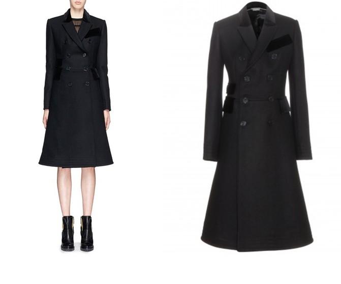Le manteau du jour reprend les lignes et l'inspiration patchwork de ce modèle en laine et velours