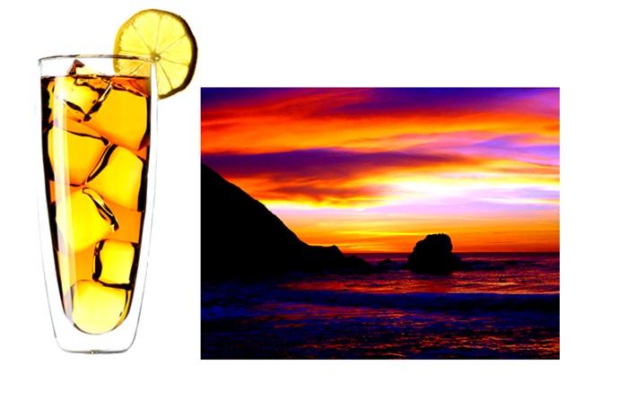 Cocktail et coucher de soleil sur le moonboard des joaillières