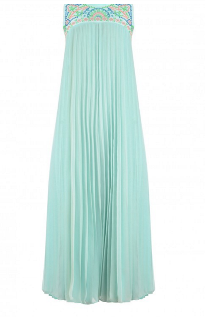 Manish Arora Sky Blue Pleated dress with Multicolor Beads $254