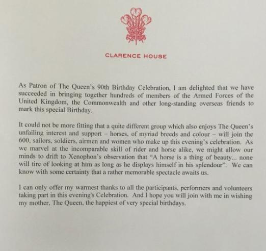 La note du prince Charles organisateur des réjouissances
