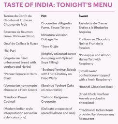 Menu du soir via Daily Mail