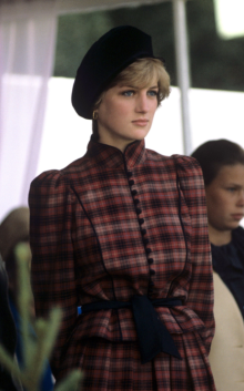 Diana aux jeux de Braemar en tailleur tartan en septembre 1981