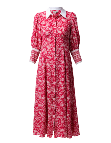 Beulah Calla rose red floral silk dress