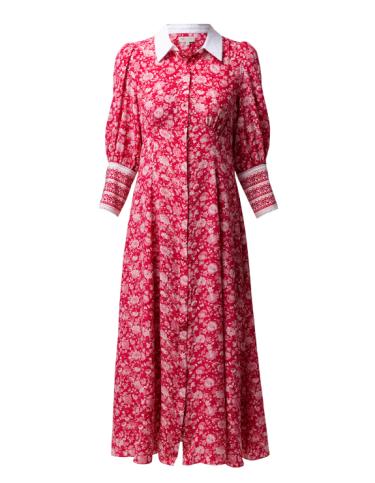 Beulah Calla rose red floral silk dress